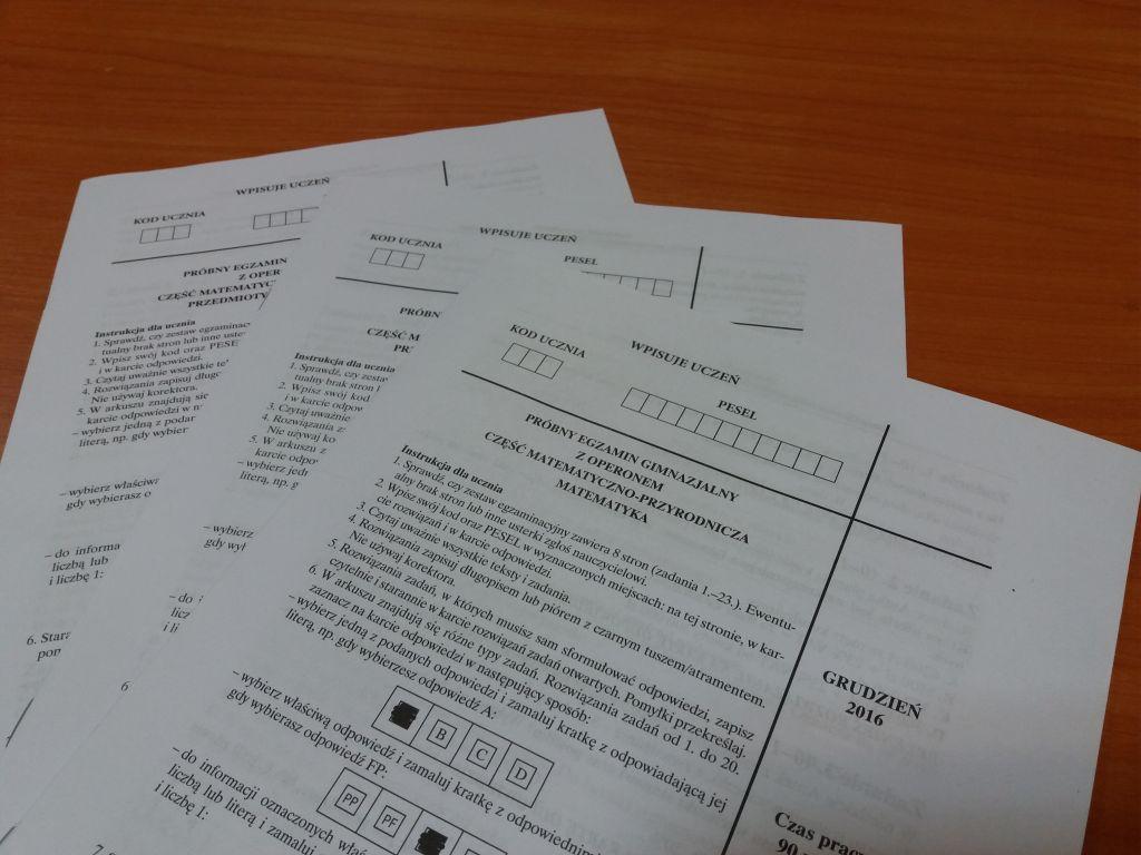 Próbny egzamin gimnazjalny.