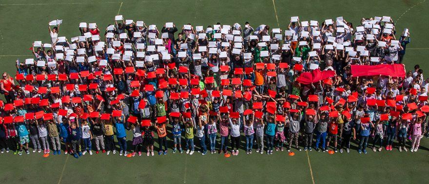 żywa Flaga Happening Na Boisku Szkolnym Zespół Szkół W