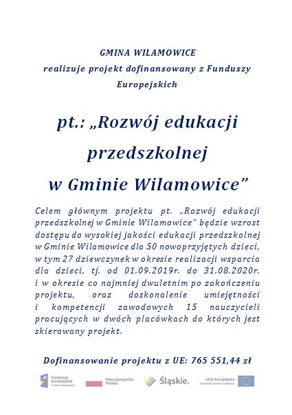 """""""Rozwój edukacji przedszkolnej  w Gminie Wilamowice"""""""