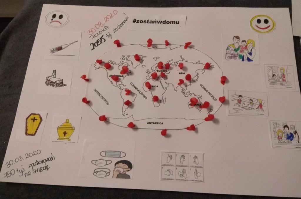 """""""Świat w obliczu pandemii""""- prace plastyczne chętnych uczniów"""